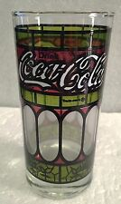 Coca Cola Tumbler Tiffany Style Red Green Stained Glass Drinking Glass - COKE