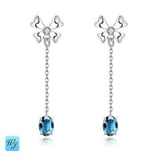 Ladies Girls Beautiful Sapphire Earrings RARE Sterling Silver 925 S/F FREE Gift