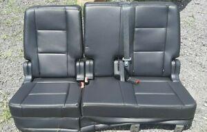 14-19 Ford Explorer Black Vinyl Split Bench 2nd Row Rear Folding Seat Set OEM