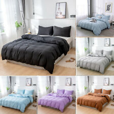 Reversible Solid Color Duvet Cover Quilt With Pillowcase Bedding Set All Size
