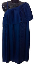 Womens EVIE Navy Blue Pleated Layered Bust Shoulder Dress - UK Size 10