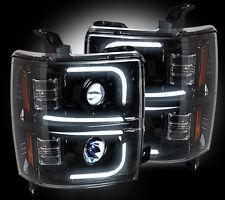 RECON 14-15 Chevy Silverado NEW SMOKED PROJECTOR HEADLIGHTS OLED HALOS & DRL SET