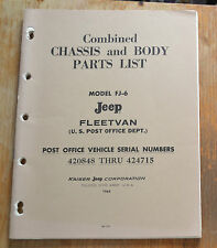VTG 1965 Combined Chassis Body Parts List Jeep Model FJ-6 Fleetvan Post Office N