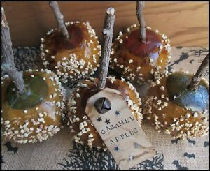 5 Primitive Caramel Apples W/Nuts Halloween Fall Autumn Bowl Fillers Red & Green