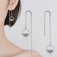 925 Sterling Silver Clear Zircon Round Long Tassel/Thread/Drop/Chain Earrings