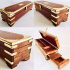 Beautifully Handcrafted Wood   Brass Indian 11 27cm Incense Box   Pencil Box