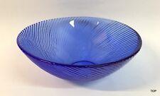 Schale rund Blau geriffelt Glas 7 cm hoch Obstschale Dekoschale