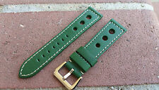 22MM Army Green Racing Pilot Racing 3 Big Holes Genuine Leather Watch Band Man