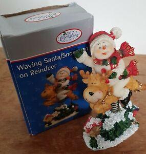 Christmas Waving Snowman On Reindeer Spring Figurine Boxed Festive Ornament
