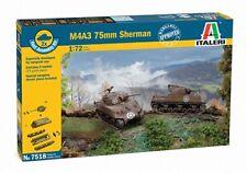 Italeri 7518 1/72 Scale Military Tank Model Kit WWII U.S M4A3(75)W 75mm Sherman