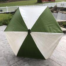 Vtg Mid Century Patio Beach Umbrella Avocado Green White Stripes Aluminum Pole