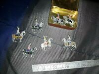 Antique German made Lead Soldiers 7 Piece Set Toy Figurines w/ Tin