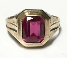 LARGE 10k Yellow Gold Genuine Solitaire Emerald Cut Ruby Design Ring Size 9.75