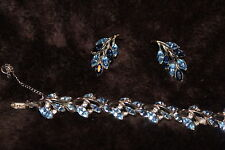 Bogoff signed light blue rhinestone silver bracelet earrings set