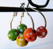 Silver Hoop Earrings Green Orange Yellow Wood Beads Basketball Wives Insp. #