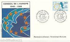 1989 ENVELOPPE ILLUSTRE FDC 1°JOUR** CONSEIL DE L'EUROPE.**TIMBRE Y/T 101