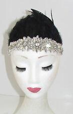 Schwarz & Silber Federkopfschmuck Stirnband 1920s Showgirl Carnival Samba Vtg