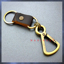 LEATHER&KEY CHAIN Triangle HooksSnap Carabiner Key ring {Metal Brass Tone} <86>