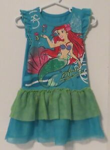 DISNEY ARIEL PRINCESS Girls Dress Costume 3T Glitter Tulle Mermaid Halloween