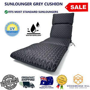 Grey Sunlounger Cushion Outdoor Seat Cover Lounge Patio Chair UV Water Resistant