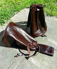 Real Brown Leather draw string pellet pouch. Purse. Bag.Bushcraft/belt loop/stud