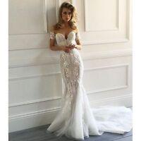 Luxury Lace Applique Mermaid Wedding Dress Sheath Off Shoulder Bridal Gown