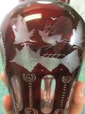 """ANTIQUE BOHEMIAN 8"""" RUBY CUT TO CLEAR ETCHED VASE WITH DEER JUMPING OVER FENCE"""