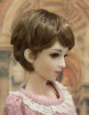 "1/4 1/3 bjd 7-8"" doll head brown highlights short wig Luts Iplehouse dollfie MSD"