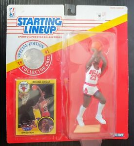 New 1991 Starting Lineup Michael Jordan With Special Edition Card and Coin SLU