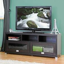 Contemporary Tv stand w/ 2 Sliding Over Head Style Doors with Glass Panels