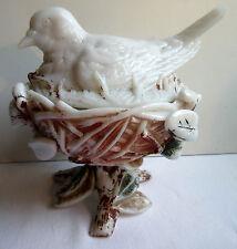 Bonbonnière opaline peinte polychrome: Pigeon sur nid de branches, Portieux?