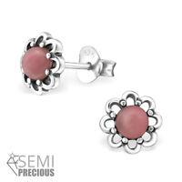 925 Sterling Silver Rhodonite Gemstone Flower Stud Earrings (Design 3)