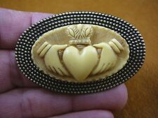 (CM38-36) traditional CLADDAGH heart hands ivory oval CAMEO brass Pin Pendant