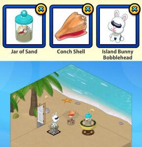 RETIRED 2016 Webkinz 3-pc VACATION ISLAND Bundle: Sand & Shell & Bobblehead
