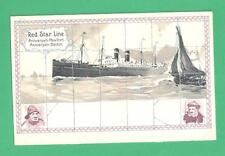 VINTAGE H. LASSIERS RED STAR SHIP LINE POSTCARD ANTWERPEN/NY/BOSTON SAILORS SHIP