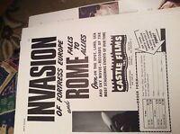 r7 ephemera 1944 ww2 film advert 2 page castle films invasion fortress europe ro