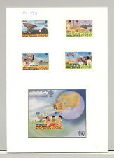 Maldives #997-1001 World Communications Year, UN 4v & 1v S/S Imperf Proofs