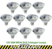 10 x 12V 50W MR16 Halogen Light Lamps Globes Bulbs 38 Degree Dimmable EXN Cover