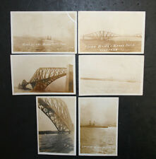 Lot of 6 Vintage Unposted Sepia Rppc Azo Fourth Bridge Queensferry Scotland