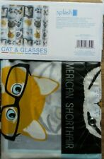 SATURDAY KNIGHT LIMITED CATS & GLASSES PEVA SHOWER CURTAIN NEW!