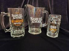 Samuel Adams Heavy Glass Pitcher and 2-Octoberfest Beer Mugs Steins