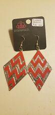 Paparazzi Earrings (new) #826 DIAMOND CHEVRON - RED