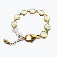 Handmade Gold Plated White Opal Charm Resin Bracelet Women's Gift For Her