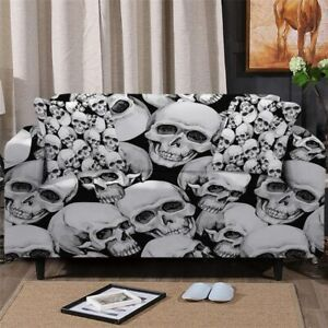 3D Gothic Skull Sofa Couch Chair Cushion Stretch Cover Slipcover Set Decor