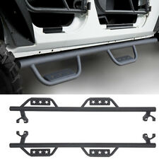 For 2007-2018 Jeep Wrangler JK 4-Door Black Side Step Nerf Bars Running Boards