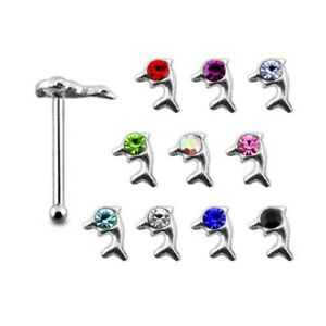 10 Pieces 22G 6mm 925 Sterling Silver 1 mm Jeweled in Dolphin Nose Bone Stud