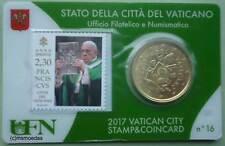 Vaticano 50 EURO CENT GETTONE 2017 STAMP & COINCARD no. 16 francobollo + moneta euro FDC