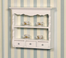 1/12 Scale Dolls House Emporium White Wall Shelf Shelving Unit with Drawers 2599