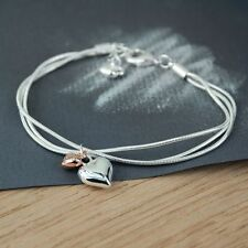 New Triple Silver Chain Bracelet with Two Heart