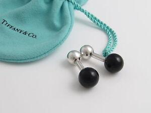 Tiffany & Co Silver RARE VINTAGE Black Jade Cuff Links Cuff Link Cufflinks!